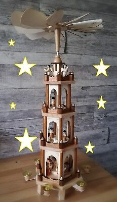 Weihnachtspyramide aus Holz - 4 Etagen - NEU - 60 cm Höhe - handbemalte Figuren!