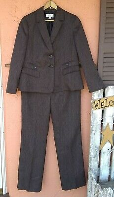 Le Suit sz 14 SHADES of BROWN Pant Suit Fully Lined MINT