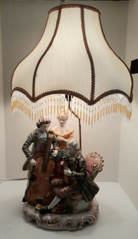 Stunning Extraordinary Large Vintage Musical Quartet Porcelain Lamp China Vtg