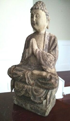 Antique Wooden Temple Figure - CHINA - 18th/19th Century or Earlier