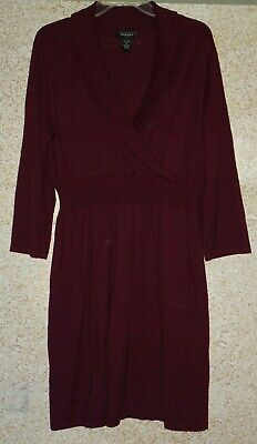 Spense Sweater Dress Women's Size XL Wine Red Surplice Neckline Stretch