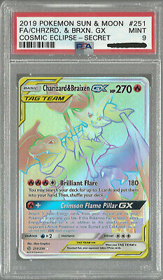 PSA 9 Pokemon Cosmic Eclipse Secret Rare Charizard & Braixen GX 251/236 MINT!!