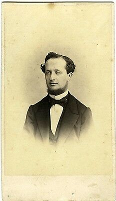 Barthélemy NANCY 1860 un homme pose collier de barbe hispter PHOTO CDV