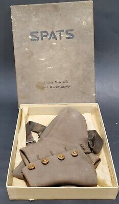Spats, Gaiters, Puttees – Vintage Shoes Covers Antique 4 Button Wool Spats with Original Box - Made in England for Eaton Canada $42.91 AT vintagedancer.com