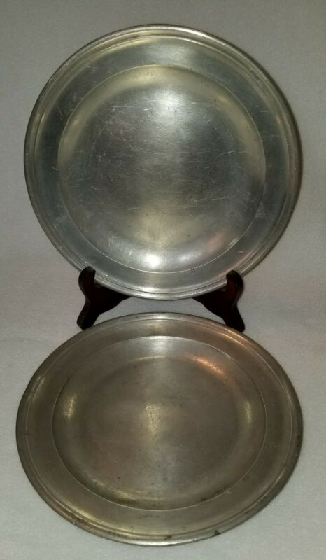 Pair English Pewter Plates marked Townsend & Compton circa 1784-1802 London 8""
