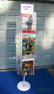 Vintage Magazine Comic Rotating Wire Floor Display Rack Huge 12 X 17 Pockets