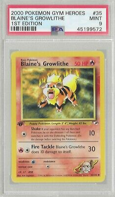 2000 Pokemon Gym Heroes 1st Edition #35 Blaine's Growlithe PSA 9 Mint