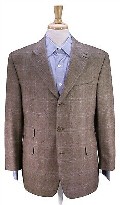 JACK VICTOR Brown w/ Blue Plaid Knit 100% Cashmere Loro Piana Blazer 42R