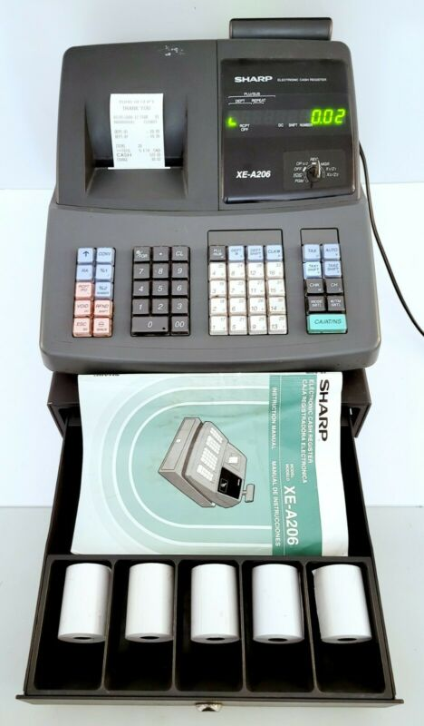 Sharp Electronic Cash Register Model XE-A206 w/ Key + Extra Paper - Works Great!