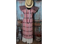 Peasant Mexican Black Maxi//Dress Huipil Red Floral Embroidery Tunic Oaxaca sash