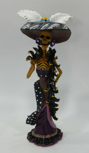 "FINE ART CATRINA mexican day of the dead folk art handmade clay figure 10"""