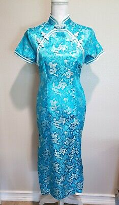 Chinese Cheongsam Dress Turquoise With Dragon Pattern  ()