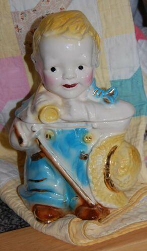 1956 Brush Pottery - Little Boy Blue Cookie Jar - Gold Trim - Beautiful!!