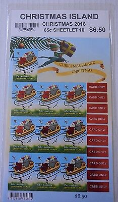Christmas Island Australia Sheetlet of Ten 2016 Christmas Stamps...New
