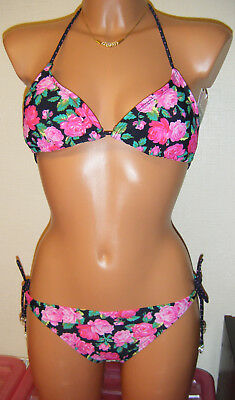 TRIANGLE BIKINI SET TOP TIE BRIEF SIZE 6 8 10 12 14 PADDED FLORAL 2CHILLIES NEW ()