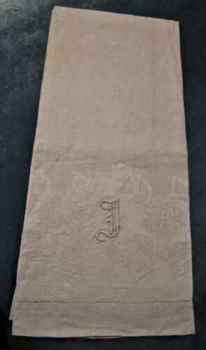Antique Nubby Linen Bath Towel J Monogram Roses & Fleur de Lis Hemstitched