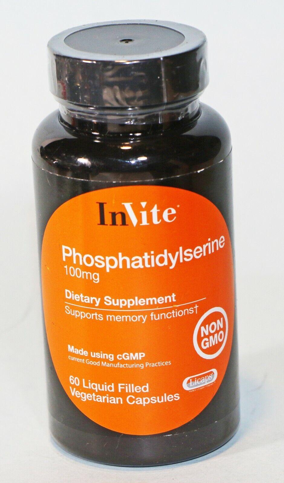 Phosphatidylserine 100mg 60 Liquid Capsules InVite Health 08/2023 NON GMO NEW
