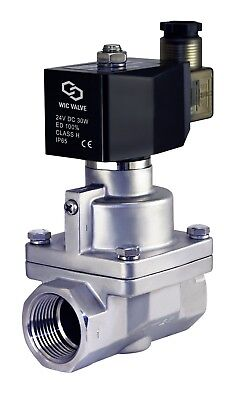 High Pressure Electric Steam Solenoid Process Valve Stainless Nc 1 Inch 24v Dc