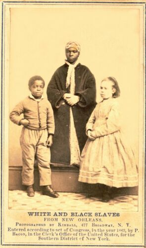 1863-White & Black Emancipated Slaves from New Orleans in NYC to be Photographed