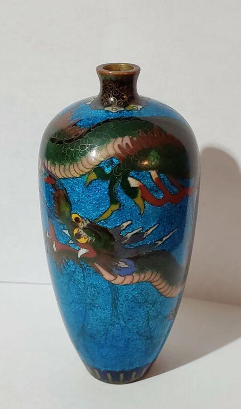 """Antique 5"""" Bronze Blue Silver Cloisonne Dragon Vase. Great Condition!"""