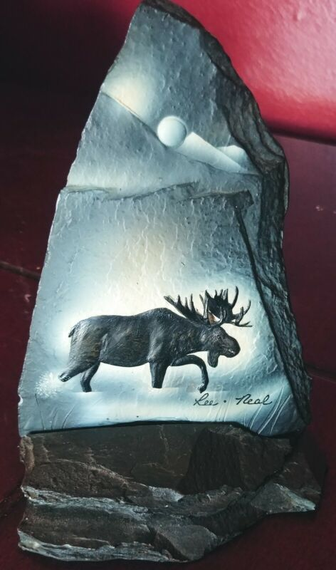 Lee Neal Moose Slate Statue Baylife Art - Signed Piece