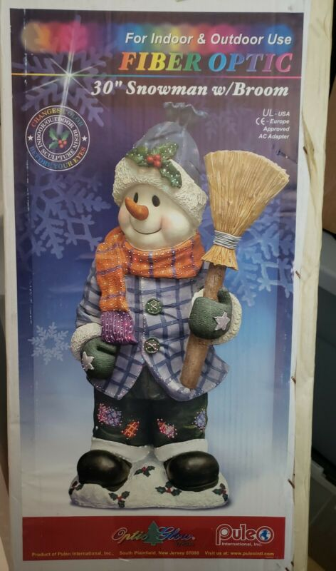 "30"" Fiber Optic Snowman with Broom - Changing Colors - Indoor or Outdoor"