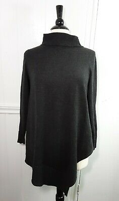 Eileen Fisher Poncho Style Merino Wool Italian yarn gray Sweater Size S
