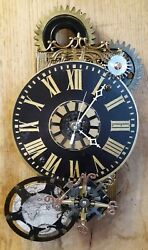 Steampunk Wall Clock- Gears -World Map- Compass Rose- Industrial- Handmade
