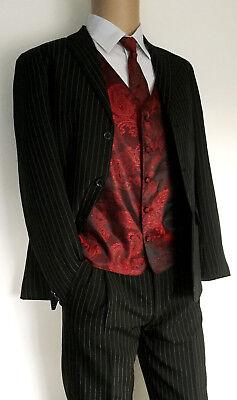 Kinderanzug Jungen Anzug schwarz Nadelstreifen mit Weste bordeaux 170,176,182