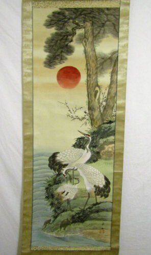 VINTAGE SIGNED JAPANESE HAND PAINTED WALL HANGING SCROLL CRANES SUN TREE 64 x 20