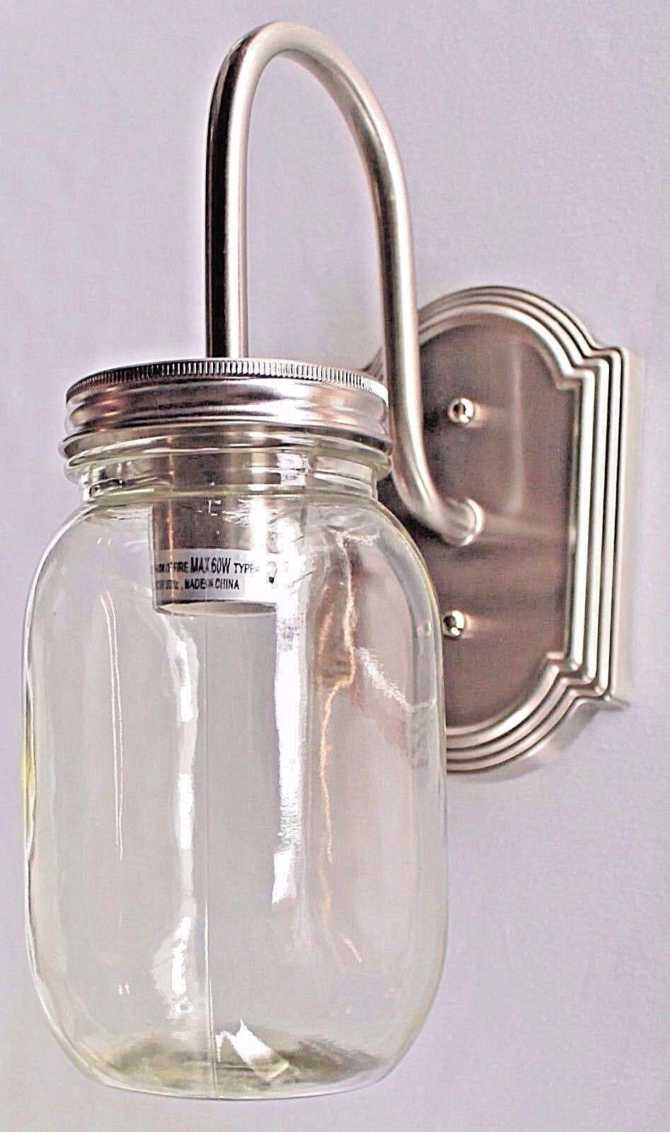 1 light clear mason jar glass Brushed Nickel sconce vanity b