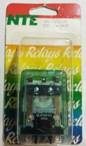 NEW NTE R50-11D10-24 24 Volt DC Coil, 10A DPDT Latching General Purpose Relay
