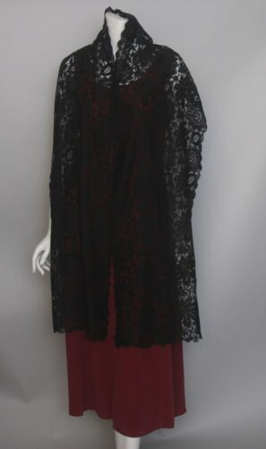 Antique Victorian black mourning lace scarf (F114)