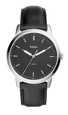 Fossil Men's Minimalist Black Leather Strap 44mm Watch FS5398