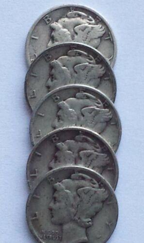 Mercury Dimes - Lot of 5, 1940