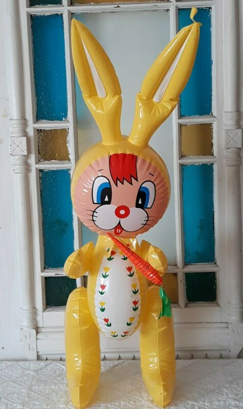 """Vintage Inflatable Vinyl 33.5"""" Blow Up Squeaky Toy Easter Rabbit Easter Decor"""