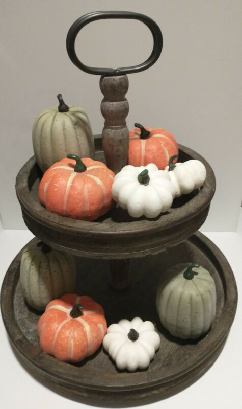 9pc Thanksgiving Fall Pumpkins Bowl Fillers Tier Tray Tabletop Decor