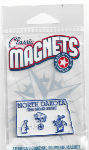 NORTH DAKOTA   THE SIOUX STATE OUTLINE MAP MAGNET in Souvenir Bag, NEW