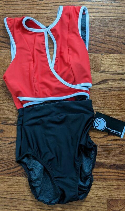 Five Dancewear Sold Out Red Black Renegade Leo Leotard Adult Medium M New NWT