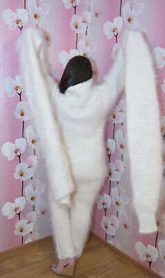 Sweater Fuzzy super long sleeve and neck 100% Goat Down Mohair (Long Neck Fetish)