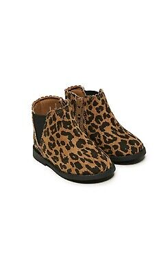NEW Baby Girls Boots Size 4 and 5 Leopard Print Zippers (Infant Boots)