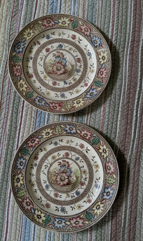 2 Sampson Hancock Palmyra Pattern Dinner Plates 1883 polychrome