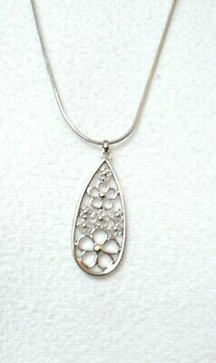 """Used, New lia sophia BLOSSOM pendant necklace daisy 1.5"""" polished silver snake chain  for sale  Twinsburg"""