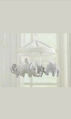 Pottery Barn Kids Flying Elephant Nursery Mobile Grey Gray White Crib Decoration