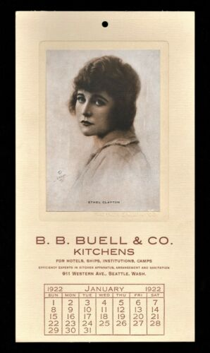 >orig./1922 Silent Film Actress ETHEL CLAYTON *Favorites of the Screen Calendar*