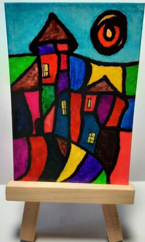 ACEO Art Card Original Watercolor / Ink, Signed, Dated, Outsider Art, Brut Art - $2.99
