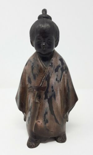 VINTAGE JAPANESE LACQUERED BRONZE STATUE OF A BOY