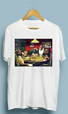 Vintage Dogs Playing Poker Famous Funny T Shirt Size S M L XL 2XL