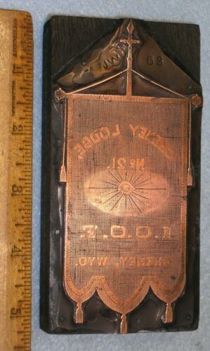 Antique CHENEY WY ODD FELLOWS BANNER Copper Printing Block ALL SEEING EYE *BR149