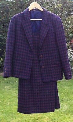 Size 10 36 Tailored Skirt + Jacket 2 Piece Suit Goldix Vintage Wool Plaid Purple